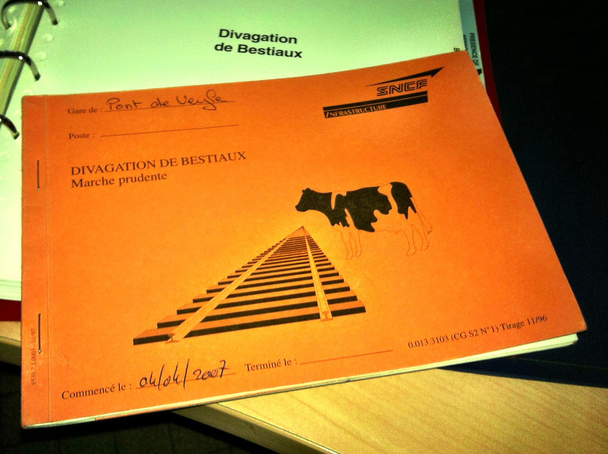 Le carnet de bulletins d'ordre pour divagation de bestiaux
