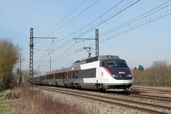 Rame TGV Sud Est en livrée carmillon