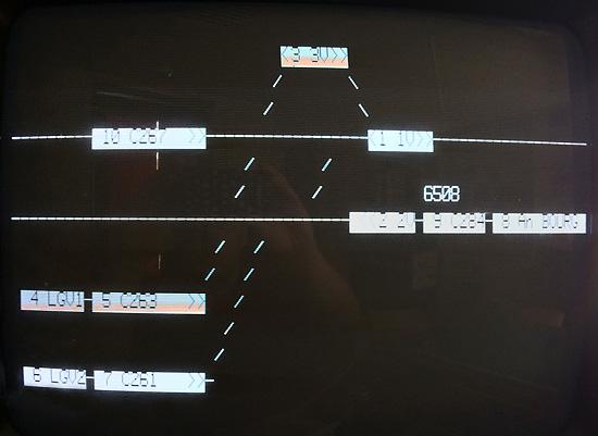 Le train 6508 sur l'affichage du SAAT.