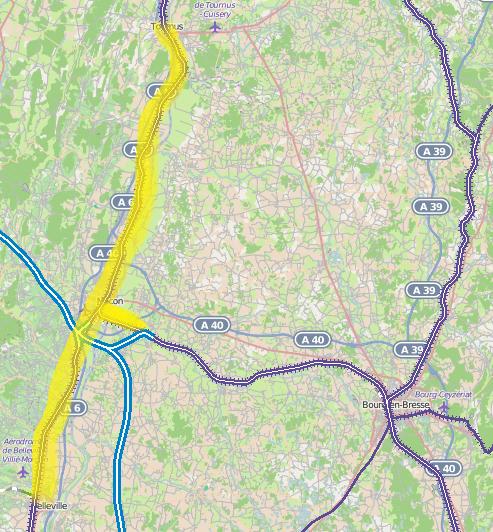 Surligné en jaune, l'étendu du canton radio de Mâcon.